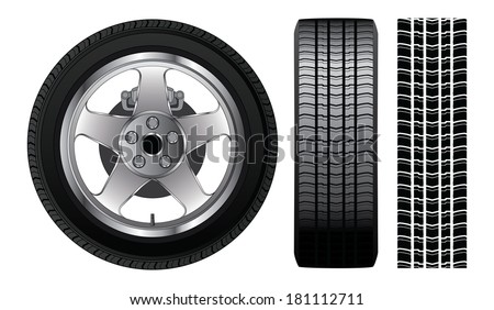 Wheel - Tire and Aluminum Rim is an illustration of a wheel with tire and alloy rim  showing rotor and brakes. Also includes front view of tire and tire track. - stock photo