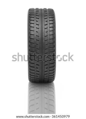 Wheel track and tire against white background - stock photo