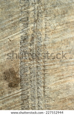 wheel track on concrete road wheel track stock photo royalty free