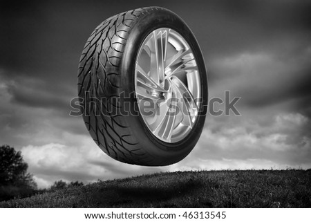 Wheel with steel rim - stock photo