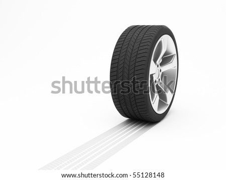 Wheel with tyre track isolated on white background - stock photo