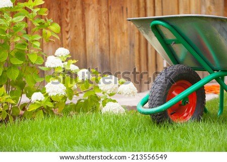 Wheelbarrow cart in a garden
