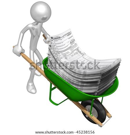 Wheelbarrow Full Of Tax Forms - stock photo