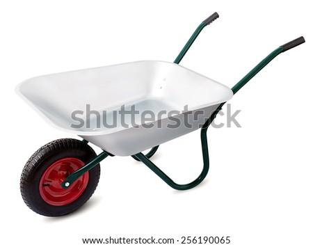 Wheelbarrow isolated on a white background - stock photo