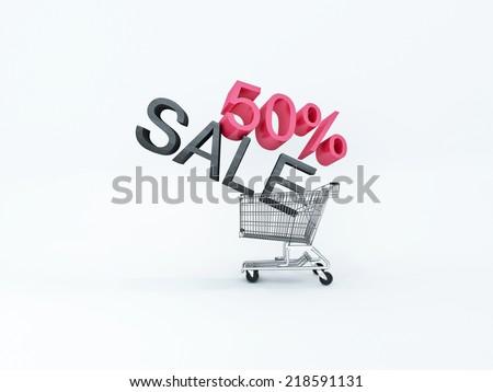 wheelbarrow sale 50% on white background - stock photo