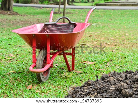 Wheelbarrow sitting in garden