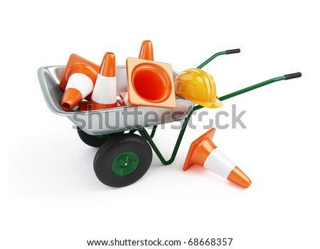 wheelbarrow under construction on a white background - stock photo
