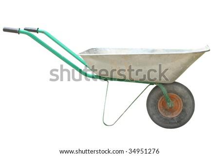 wheelbarrow under the white background - stock photo