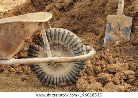 wheelbarrow wheel closeup - stock photo