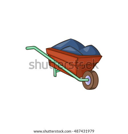 Wheelbarrow with earth icon in cartoon style isolated on white background. Transportation symbol