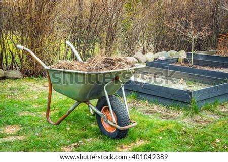 Wheelbarrow with garden waste on a lawn - stock photo