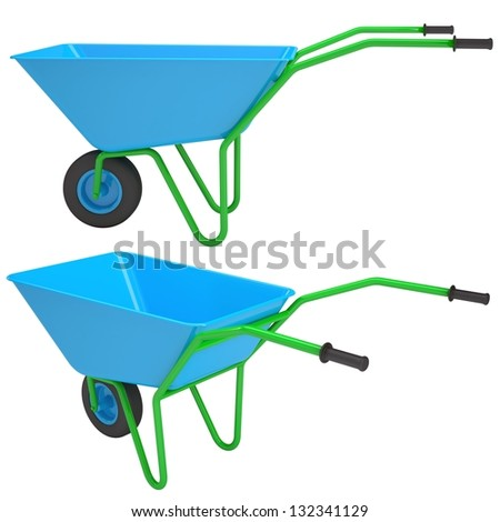 Wheelbarrows. Isolated render on a white background - stock photo