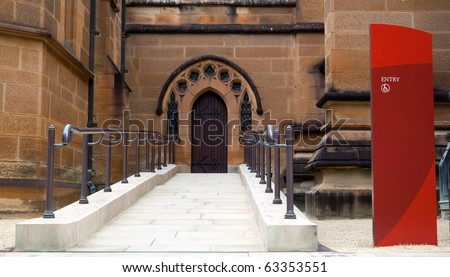 Wheelchair access entrance to st. Maryâ??s Cathedral in Sydney. Australia. - stock photo