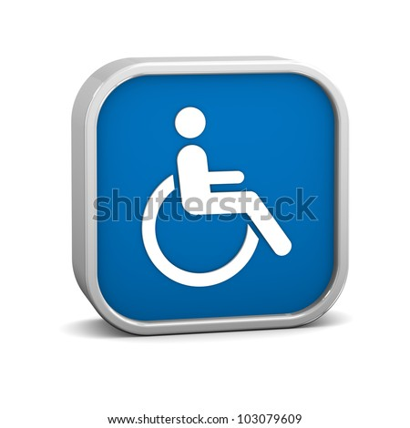 Wheelchair Accessible sign on a white background. Part of a series. - stock photo