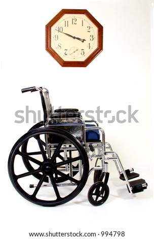 Wheelchair and Clock, Signs and Symbols for Disabilities and Handicaps - stock photo