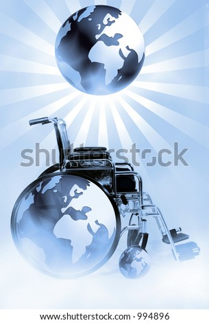 Wheelchair and World, Signs and Symbols for Disabilities and Handicaps - stock photo