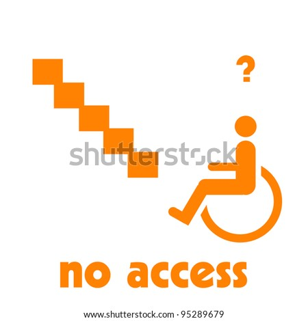 wheelchair at the bottom of stairs illustration orange on white - stock photo