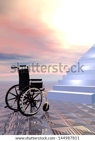 Wheelchair can not go further because of stairs, sunset sky