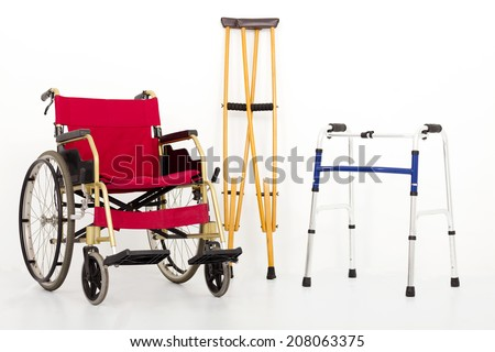 Wheelchair,crutches and Mobility aids. isolated on white background - stock photo