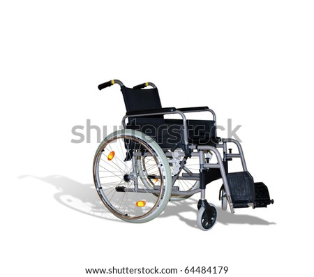 wheelchair for invalids on white - stock photo
