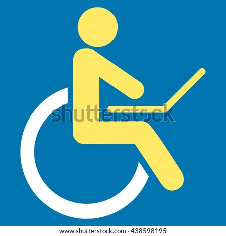 Wheelchair glyph icon. Style is bicolor flat icon symbol with rounded angles, yellow and white colors, blue background.