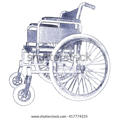 Wheelchair. Illustration in draw,doodle, pen sketch style - stock photo