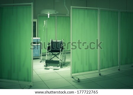 Wheelchair in hospital room - render with toned green - stock photo