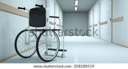 Wheelchair in the long hospital corridor. 3d render - stock photo