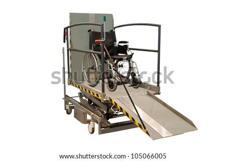 wheelchair on a sinking machine - stock photo