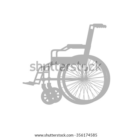 Wheelchair silhouette. Stroller with wheels for movement of people with disabilities.