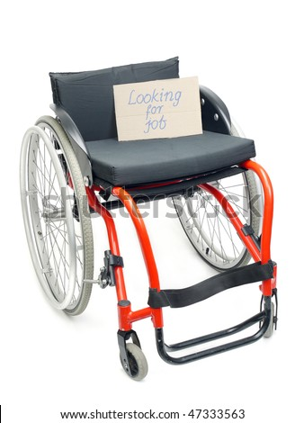 Wheelchair with cardboard note Looking for Job over white - concept of handicapped unemployment problem - stock photo
