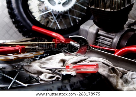 Wheels and tools - stock photo