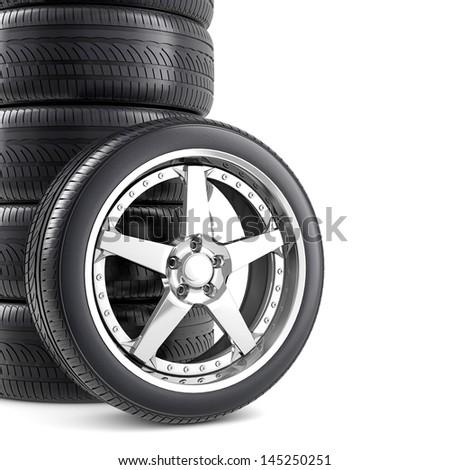 Wheels background - stock photo