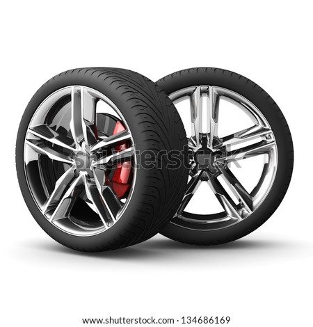 Wheels car isolated on white. 3d real illustration. - stock photo
