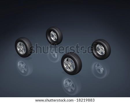wheels 3d - stock photo