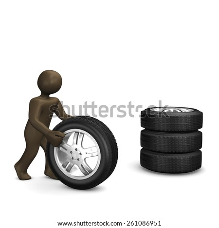 Wheels, 3D Illustration with black cartoon character - stock photo