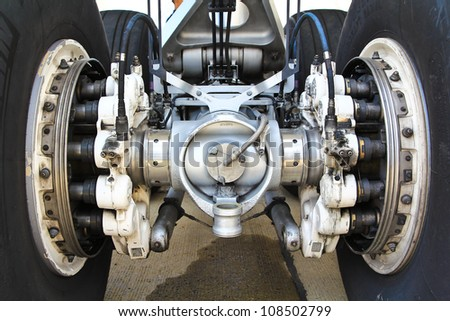 wheels from a big in airplane - stock photo