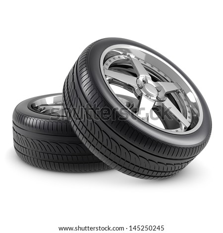 Wheels isolated - stock photo