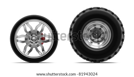 Wheels isolated on white. Front view. - stock photo