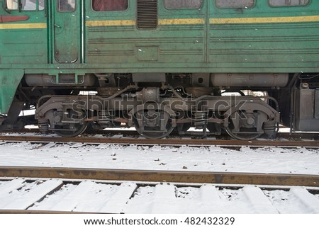 Wheels of a railroad car. Details of the trains transmission.