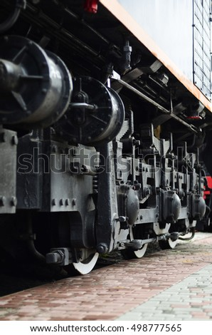 Wheels of a Russian modern locomotive, view from side