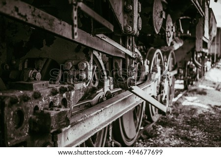 Wheels of the old steam train