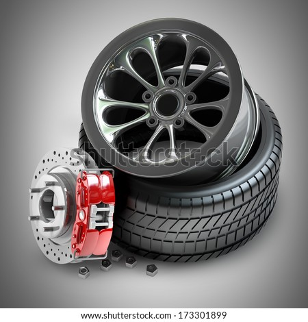 Wheels, Rims , brake pads and discs. CAR PARTS. High resolution 3d - stock photo