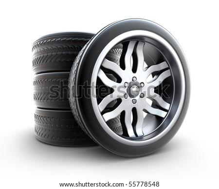 Wheels Set isolated on white - stock photo