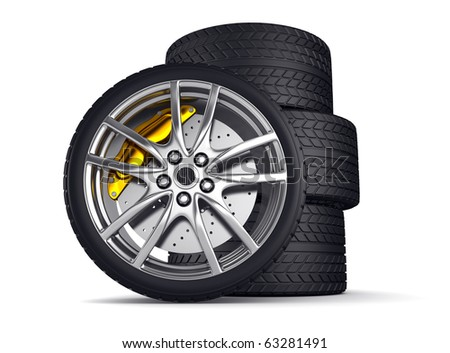 Wheels with alloy rims  - 3d render - stock photo