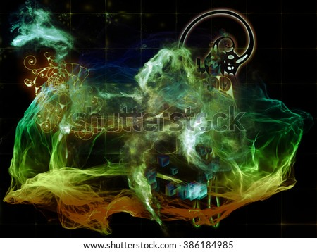 When Numbers Dream series. Backdrop design of fractals,  natural forms and conceptual particles for works on math, design, magic, philosophy and science of nature - stock photo
