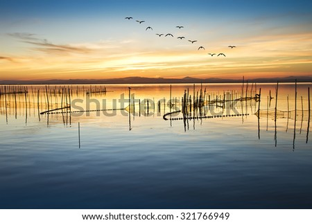 when the lake is calm - stock photo
