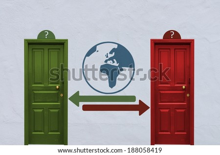 where is the world behind the red or the green door? A concept image showing two closed doors with a world sign painted on the wall in between