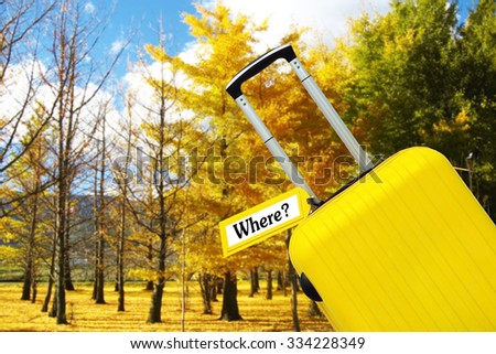 Where ?. suitcase with label. - stock photo