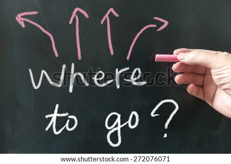 Where to go words written on blackboard using chalk - stock photo